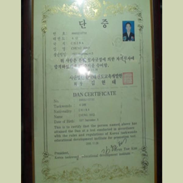 跆拳道证书荣誉