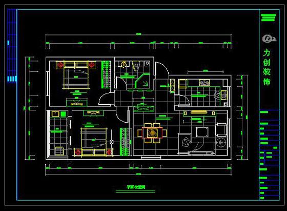 五星公寓平面布置图 cad施工图例 力创建筑装